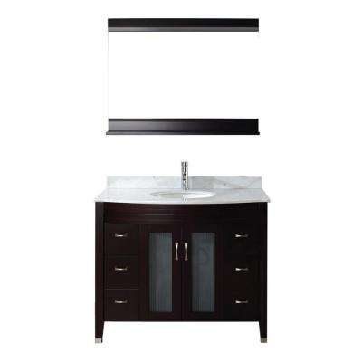 Alba 42 in. Vanity in Chai with Marble Vanity Top in Chai and Mirror