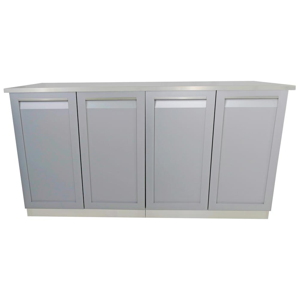 Stainless Steel Outdoor Kitchen Cabinet Set with Powder Coated Doors in Gray