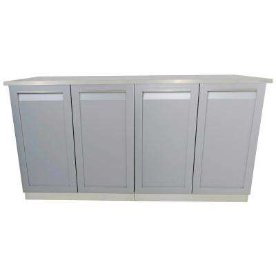 3-Piece 66 in. x 36 in. x 24 in. Stainless Steel Outdoor Kitchen Cabinet Set with Powder Coated Doors in Gray