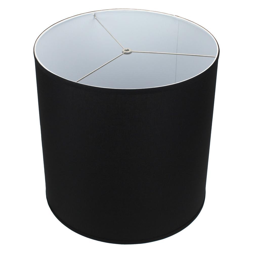 Fenchel Shades 18 in. Top Diameter x 18 in. Bottom Diameter x 18 in. Height Drum Lamp Shade - Linen Black