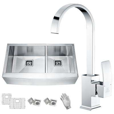 Elysian Farmhouse Stainless Steel 36 in. 60/40 Double Bowl Kitchen Sink with Faucet in Polished Chrome