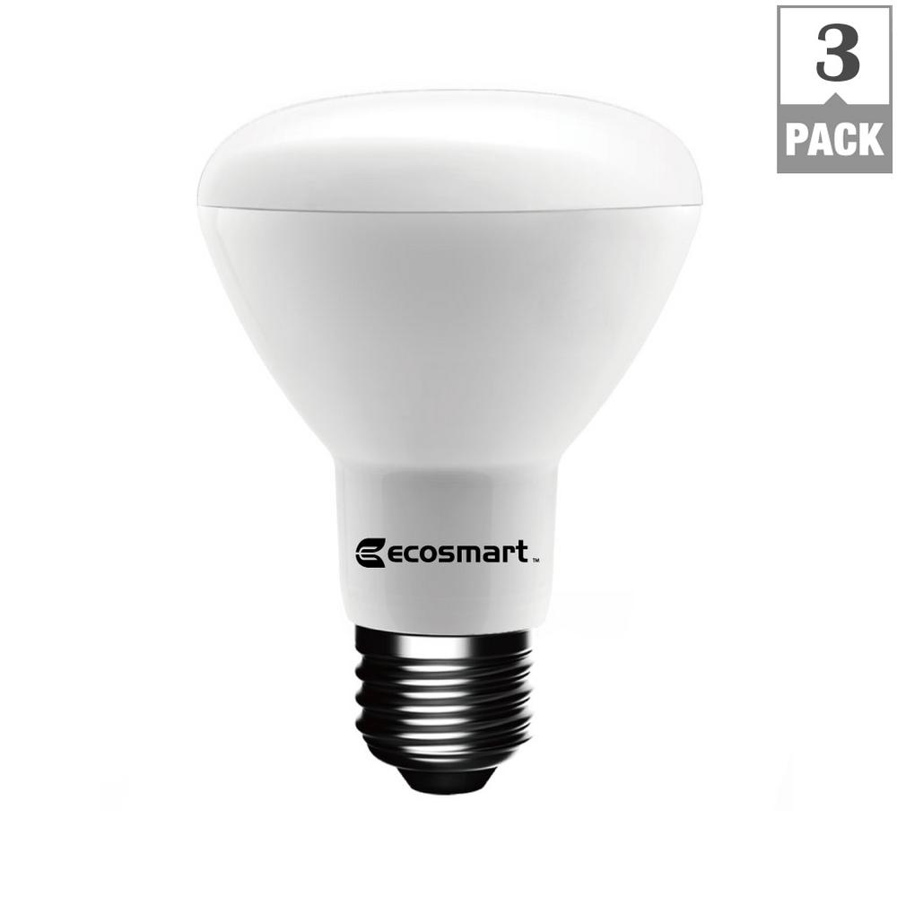 ecosmart 75w equivalent bright white br20 dimmable led bulb 3 pack 1003020602 the home depot. Black Bedroom Furniture Sets. Home Design Ideas