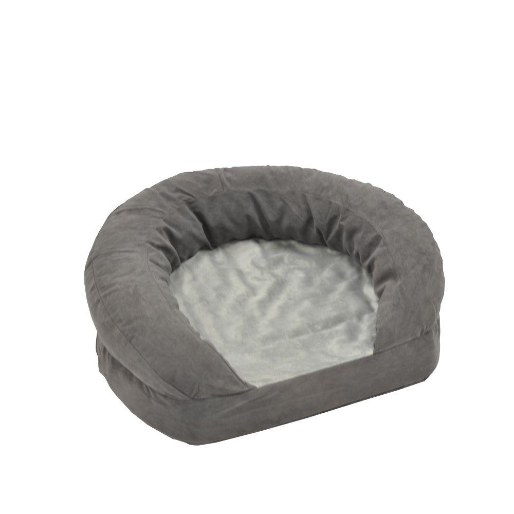 Ortho Bolster Sleeper Large Gray Velvet Dog Bed