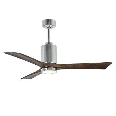 Patricia 52 in. LED Indoor/Outdoor Damp Polished Chrome Ceiling Fan with Remote Control, Wall Control