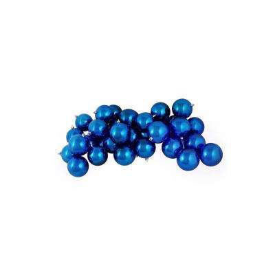 2.5 in. (60 mm) Shiny Lavish Blue Shatterproof Christmas Ball Ornaments (60-Count)