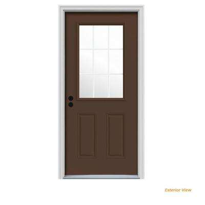 36 in. x 80 in. 9 Lite Dark Chocolate Painted Steel Prehung Right-Hand Inswing Front Door w/Brickmould