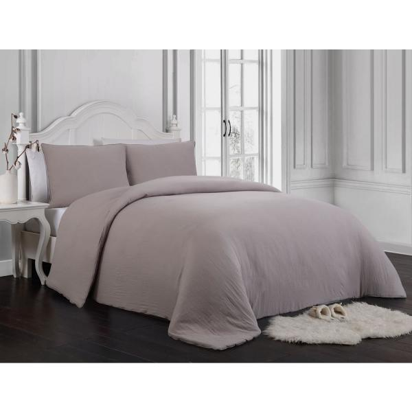 Gweneth Enzyme Washed Solid Twin Taupe Comforter Set