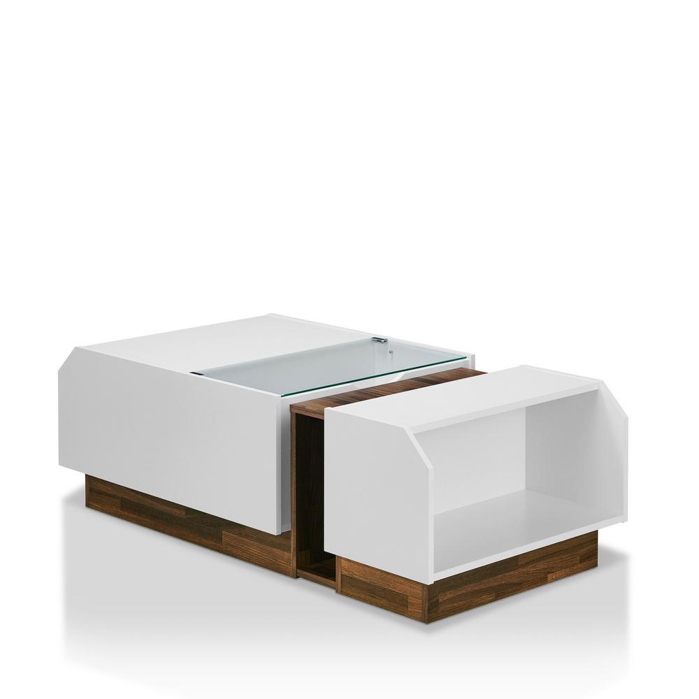 White Walnut Coffee Table: Testa White With Walnut Storage Coffee Table-YNJ-1898C2