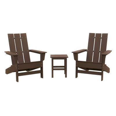 Aria Chocolate Recycled Plastic Modern Adirondack Chair with Side Table (2-Pack)