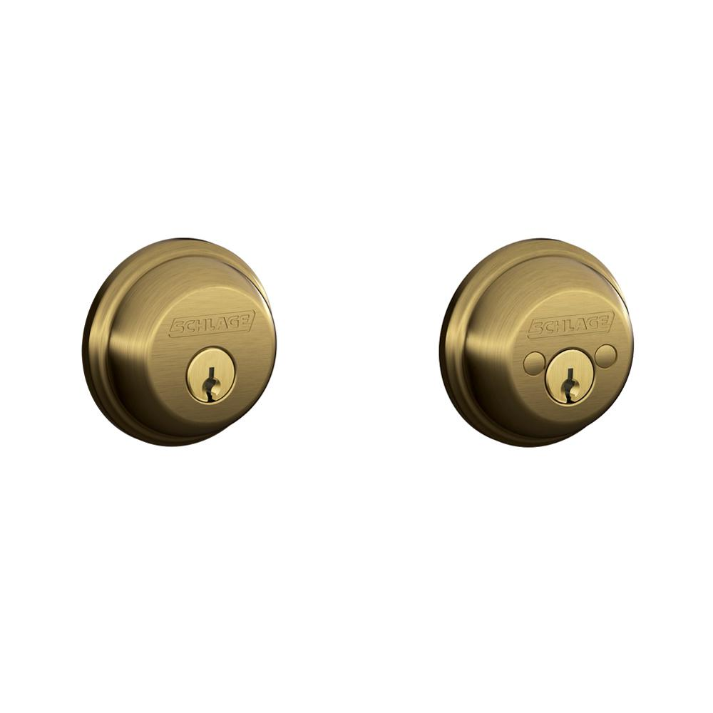 Schlage Antique Brass Double Cylinder Deadbolt - Schlage Antique Brass Double Cylinder Deadbolt-B62N V 609 - The Home