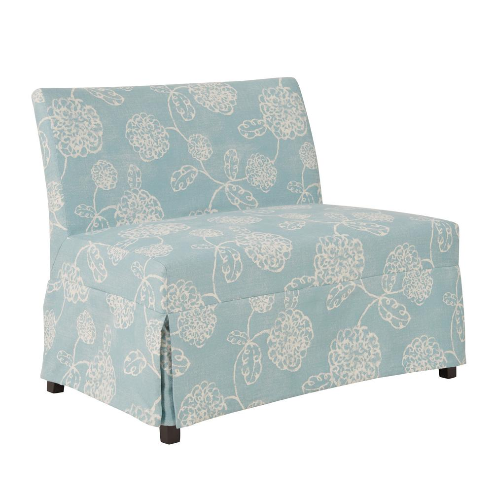 Handy living nate blue floral armless settee with skirted slipcover nat3 lx flr52 the home depot