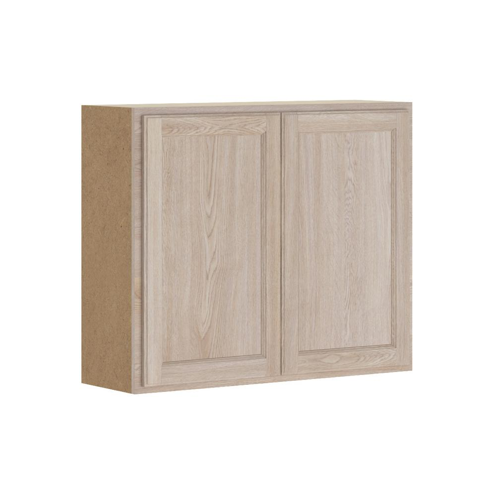 Stratford Embled 36x30x12 In Wall Cabinet Unfinished Oak