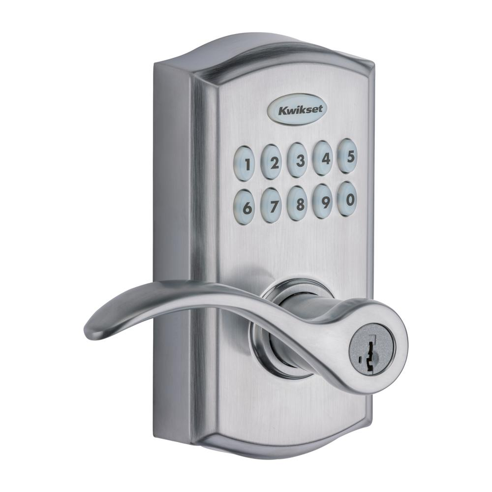 Satin Chrome Finish Mechanical Digital Door Lock with Lever and Passage Mode