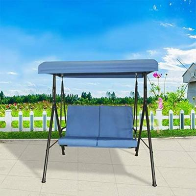 Toulon 55 in. 2-Person Metal Patio Swing with Blue Cushions