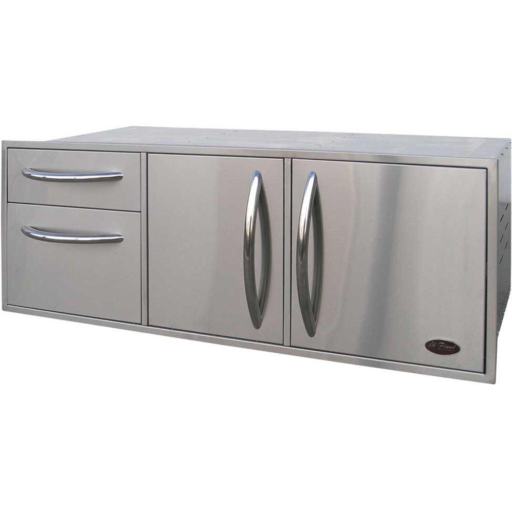 Cal Flame 52.5 In. Wide Outdoor Kitchen Stainless Steel Complete Utility  Storage Set