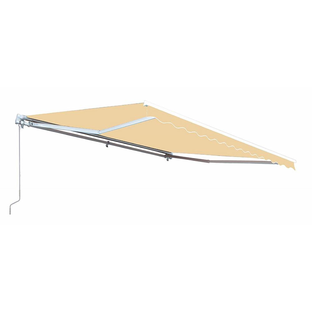 Aleko 16 Ft Motorized Retractable Awning 120 In Projection In Ivory Awm16x10ivory29 Hd The Home Depot