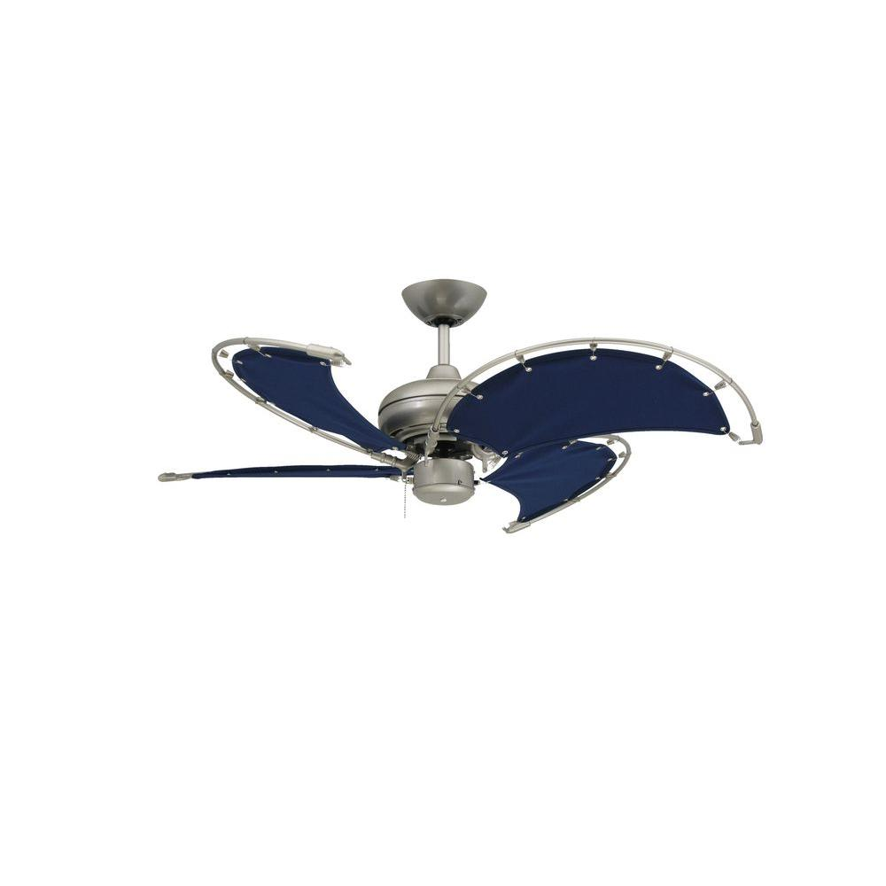 Indoor Outdoor Brushed Nickel Ceiling Fan With Blue Fabric Blades