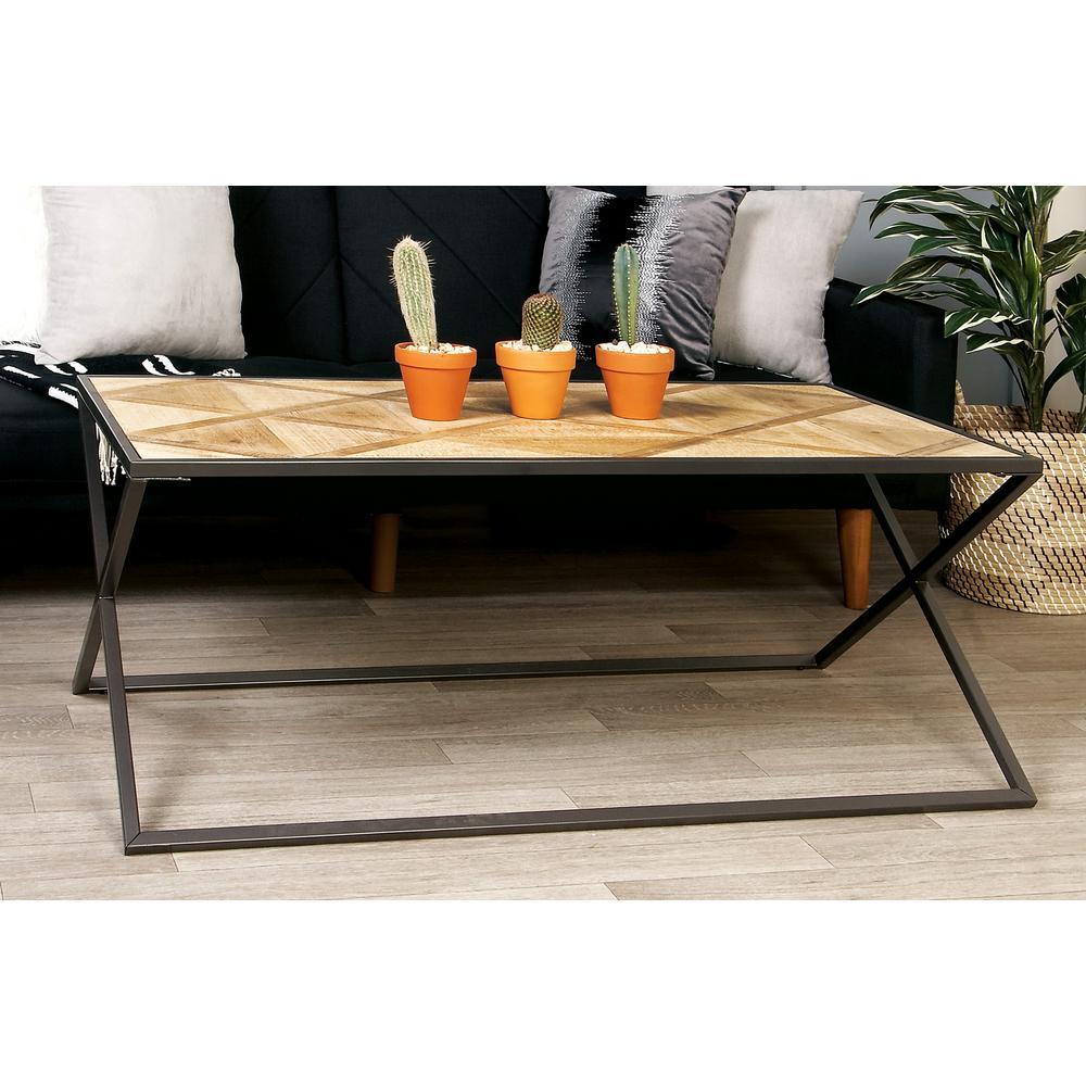 Lane Blonde Coffee Table: Litton Lane Light Brown Geometric-Patterned Coffee Table
