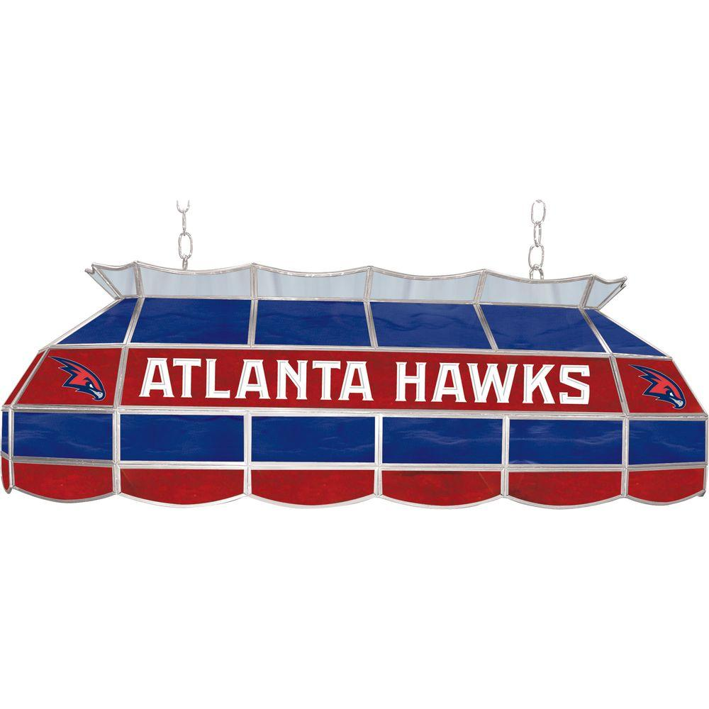 null NBA Atlanta Hawks NBA 3-Light Stained Glass Hanging Tiffany Lamp