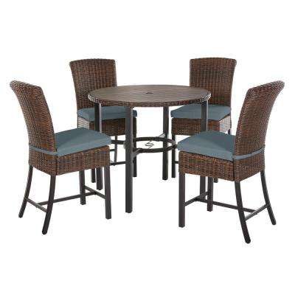 Harper Creek 5-Piece Brown Steel Outdoor Patio Bar Height Dining Set with Sunbrella Denim Blue Cushions