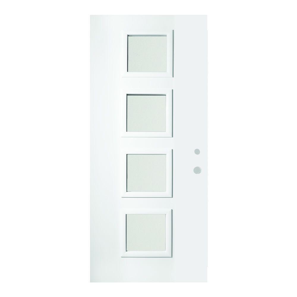 Stanley Doors 32 in. x 80 in. Evelyn Satin Opaque 4 Lite Painted White Left-Hand Inswing Steel Prehung Front Door