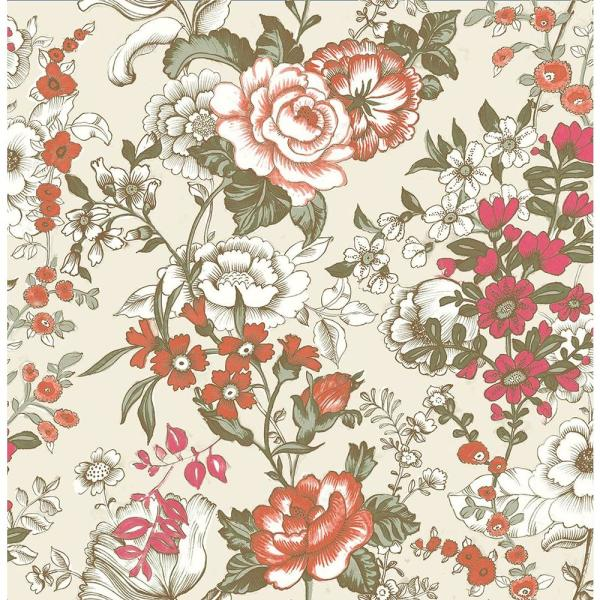 A-Street Ainsley Red Boho Floral Wallpaper Sample 1014-001848SAM