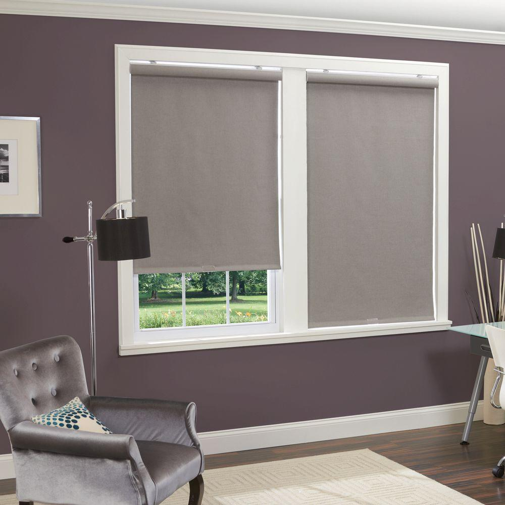 homeBASICS Grey Linen-Look Thermal Fabric Cordless Roller Shade - 39 in. W x 66 in. L