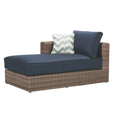 Naples Grey All-Weather Wicker Right Arm Outdoor Sectional Chair with Navy Cushions