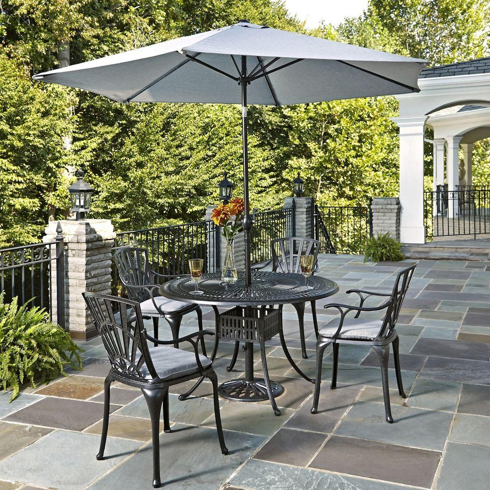 Home Styles Largo 5-Piece Patio Dining Set with Gray Cush...