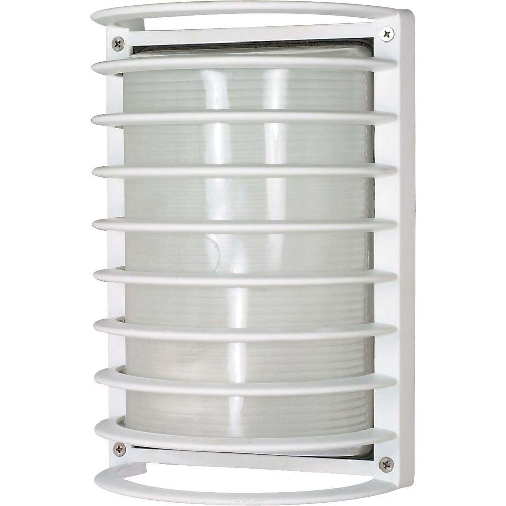 Glomar 1-Light Semi Gloss White Outdoor Rectangle Cage Bulk Head with Die-Cast