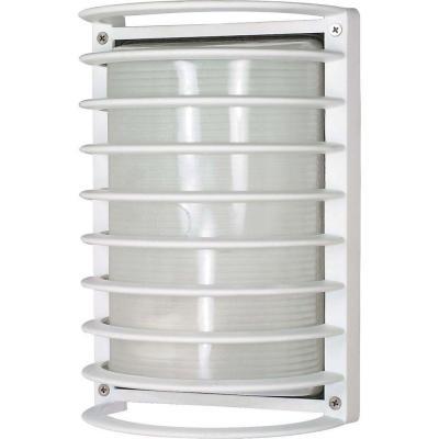 1-Light Semi Gloss White Outdoor Rectangle Cage Bulk Head with Die-Cast