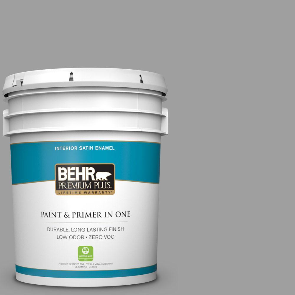 5 gal. #PPU26-06 Elemental Gray Zero VOC Satin Enamel Interior Paint