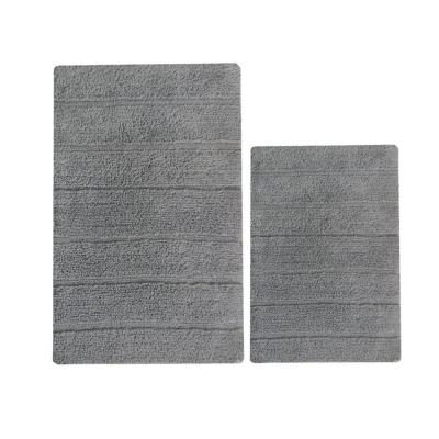 Soft Gray Underfoot 32 in. x 20 in. Solid Cotton Bath Rug (Set of 2)