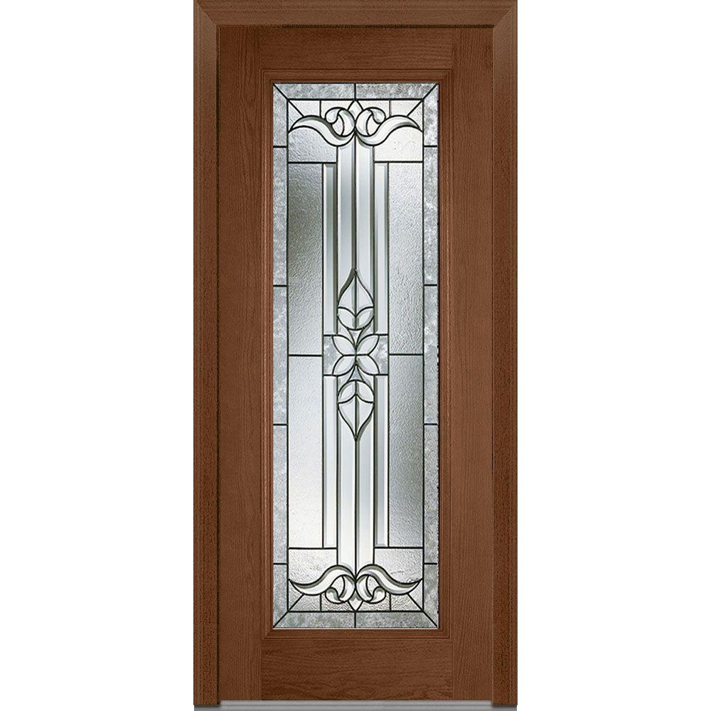 Mmi door 37 5 in x in cadence decorative glass full lite finished fiberglass oak for Exterior glass doors home depot