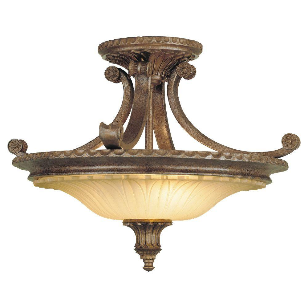 Stirling Castle 2-Light British Bronze Semi-Flush Mount