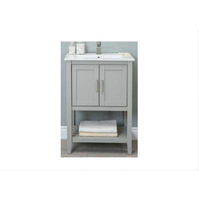 KD 24 in. W x 18 in. D x 34 in. H Bath Vanity in White Gray with Ceramic Vanity Top in White with White Basin