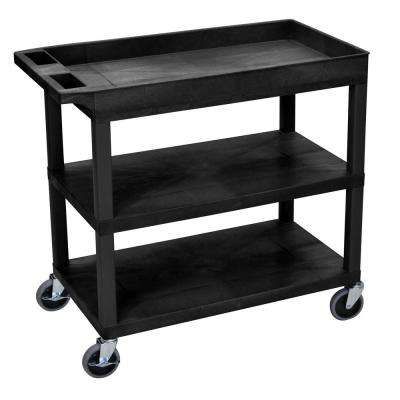 EC 35.25 in. W x 18 in. D x 34.5 in. H 3-Shelf Utility Cart in Gray