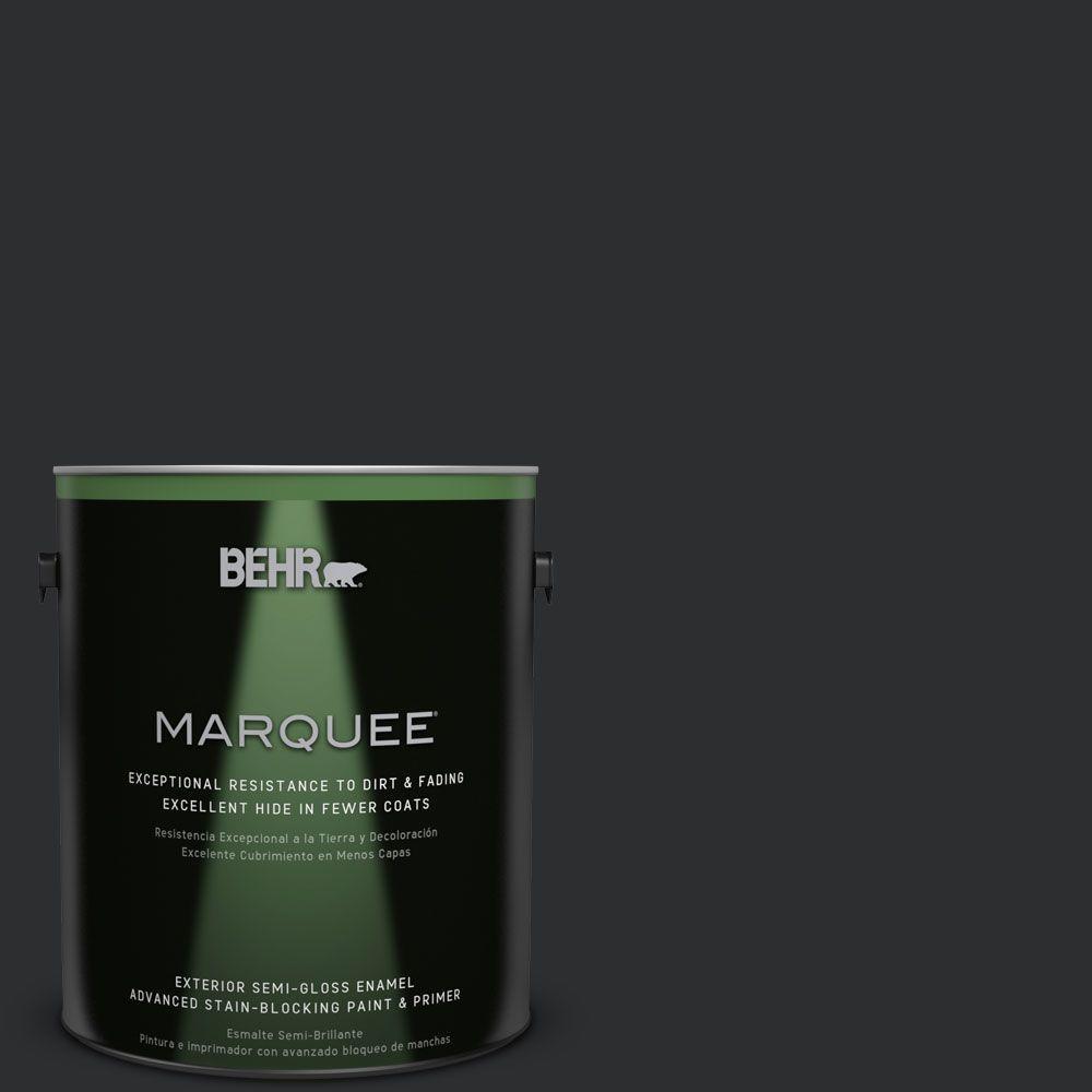 BEHR MARQUEE 1-gal. #ECC-10-2 Jet Black Semi-Gloss Enamel Exterior Paint