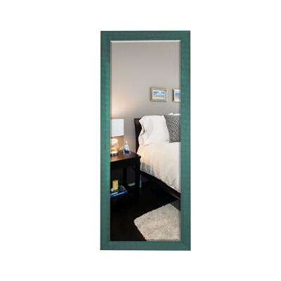59.5 in. x 20.5 in. Country Cottage Aqua Framed Beveled Tall Mirror