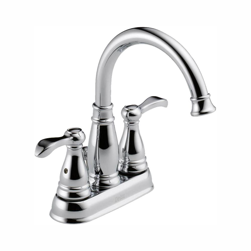 Delta Porter 4 In Centerset 2 Handle Bathroom Faucet In Chrome 25984lf Eco The Home Depot