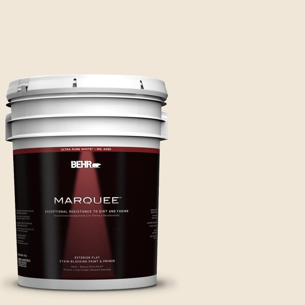 BEHR MARQUEE 5-gal. #710C-1 Parchment Paper Flat Exterior Paint