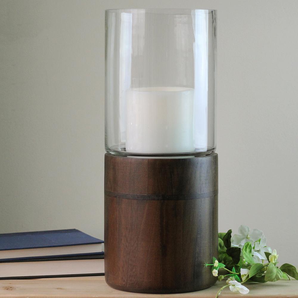 15.25 in. Glass Hurricane Pillar Candle Holder