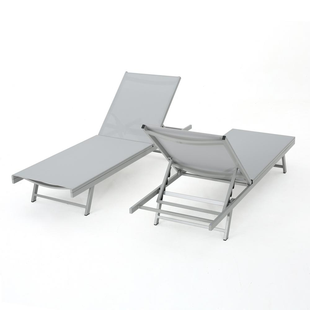 Noble House Salton Grey 2-Piece Metal Adjustable Outdoor Chaise Lounge