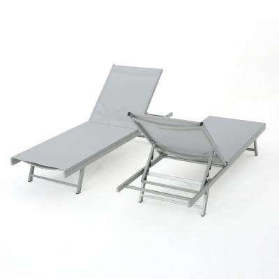 Salton Grey 2-Piece Metal Adjustable Outdoor Chaise Lounge