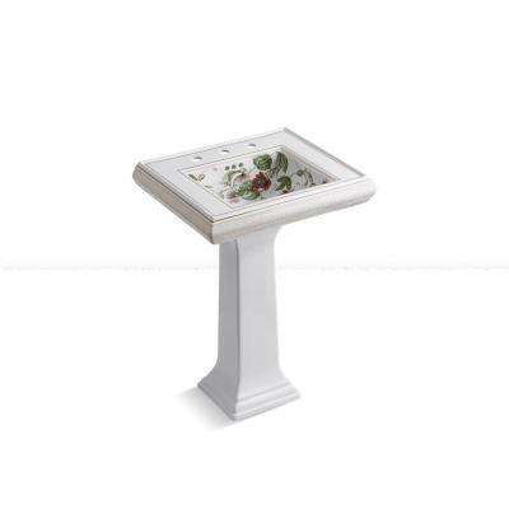 Memoirs 8 in. Ceramic Pedestal Bathroom Sink Combo in White with Crimson Topaz Design