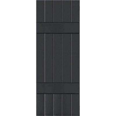 18 in. x 79 in. Exterior Real Wood Sapele Mahogany Board and Batten Shutters Pair Black