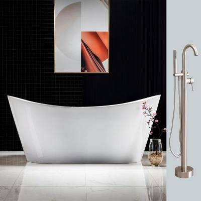 Alacant 67 in.Acrylic Flatbottom Double Slipper White Bathtub with Brushed Nickel Faucet & Overflow and Drain