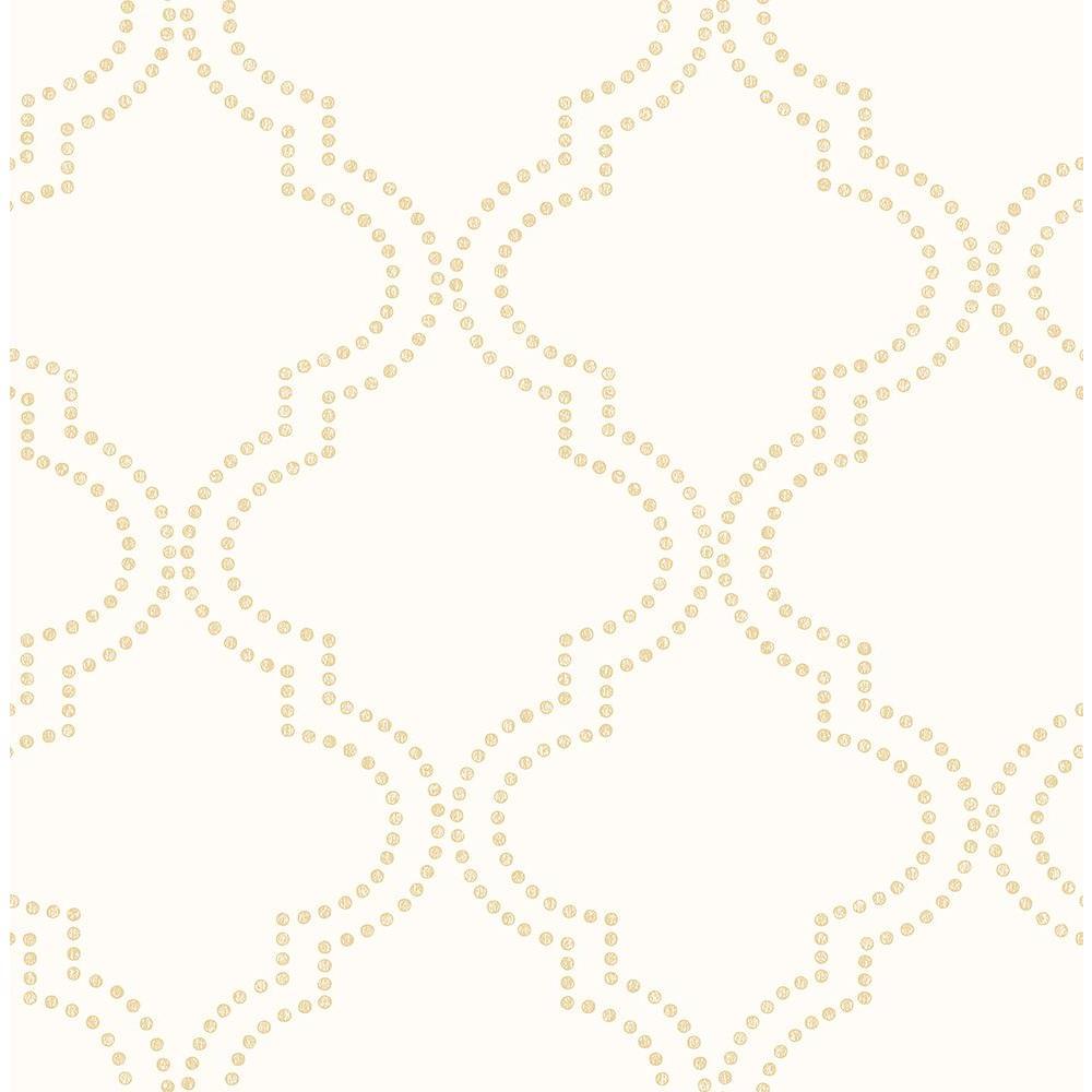 A-Street Tetra Cream Quatrefoil Wallpaper Sample 2625-21800SAM