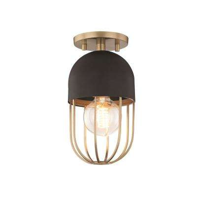 Haley 1-Light Aged Brass and Black Flush Mount with Black Accents