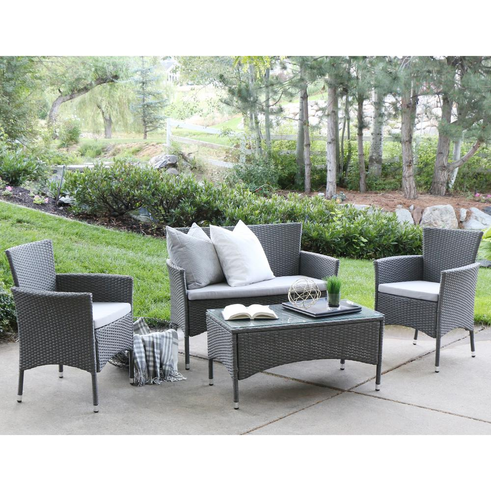 Walker Edison Furniture Company Grey Rattan 4 Piece Patio Chat Set With Cushions